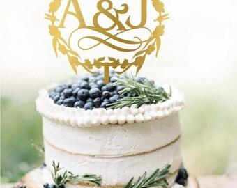 Customized Initials Wedding Cake Topper, Personalized Cake Topper for Wedding, Custom Personalized Wedding Cake Topper, Monogram Cake Topper
