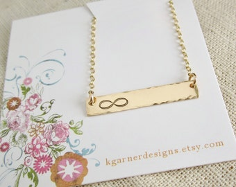 Gold bar infinity necklace, personalized gold initial necklace, friendship necklace, sisters necklace, friends forever, sorority sisters