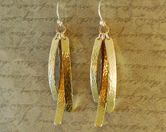 "Gold brass, triple strand, earrings, 2-1/2"" long, tab, statement, long, swinging, hammered"