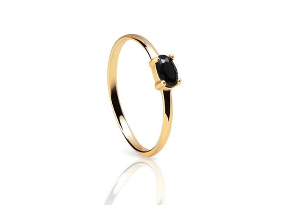 Black Stone ring Black cz gold ring Minimalist ring