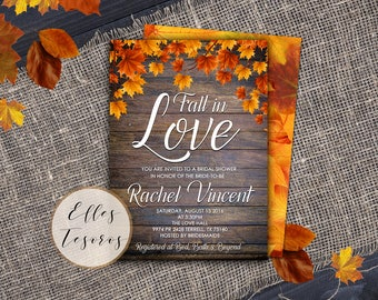 Fall in Love Bridal Shower Invitation Autumn Invitation  Rustic Fall Bridal Shower Falling in Love Pumpkin Invitation Digital Invitations