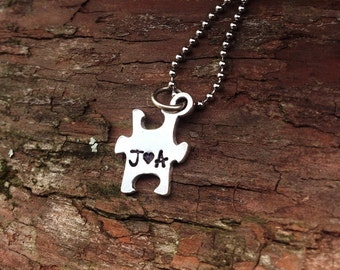 Puzzle piece necklace - pewter