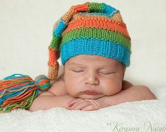 Newborn hat, Newborn Photo Prop, newborn props, knit hat, baby hat, long hat, newborn elf hat