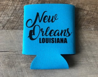 New Orleans Can Cooler - Nola Can Cooler - Mardi Gras - Vacation Can Coolers - Custom New Orleans Vacation Can Cooler - Louisiana Can Cooler