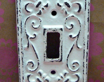 Fleur de lis Cast Iron FDL Light Switch Plate Cover Single Wall Shabby Elegance DIY Remodel Distressed Rustic French Decor White White