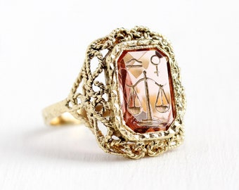 Zodiac Libra Ring - Vintage 14k Yellow Gold Scale Intaglio Light Pink Glass Stone Signet - Retro 1960s Size 7 1/4 Statement 60s Fine Jewelry