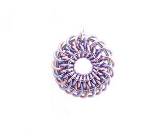 Aluminum Pendant, Chain Maille Jewelry, Pastel Pendant, Jump Ring Jewelry, Multicolor Pendant