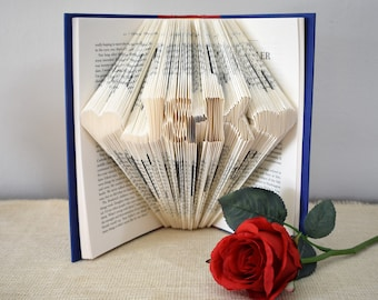Gift for Her, Personalized Folded Book Art, Birthday Present