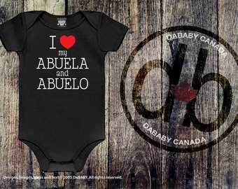 I love my Abuela & Abuelo, Abuela and Abuelo Bodysuit, Baby Girls Clothing, Baby Boys Clothing, Spanish Grandparents, Newborn Baby Gift