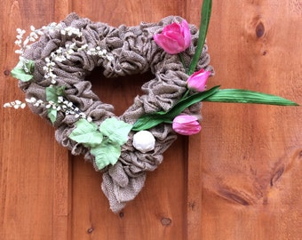 Heart Shaped Burlap Wreath, 17 Inch, Burlap Wreath, Spring Wreath, Valentine Wreath, Heart Shaped Wreath,  Housewarming, Made In Canada