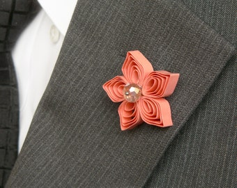 Coral Lapel Pin, Coral Boutonniere, Coral Flower Pin, Mini Flower Buttonhole, Coral Wedding