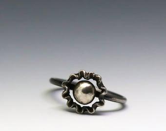 stacking ring, silver stacking ring, sun ring, flower ring, silver flower ring, boho jewelry, boho ring, boho lux, ruffle ring, simple ring