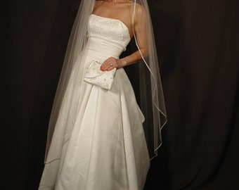 Waltz Veil with Satin Rattail Edge, Waltz Length Veil, Satin Cord Veil, Satin Cord Veil, Comb Veil, Classic Wedding Veil, Veil Wedding, Veil