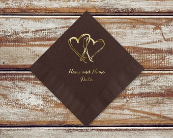 Rustic Country Wedding Cocktail Napkins | Country Hearts Personalized Mocha Brown Color Cocktail Napkins Shown With Gold Foil Imprint Design