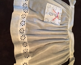 White Vintage Cotton Apron