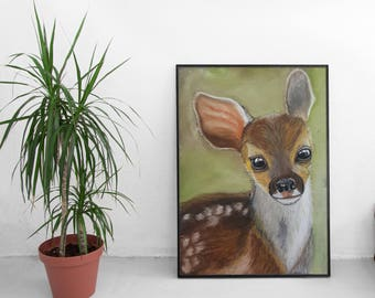 ORIGINAL Soft Pastel Painting, Tender Fawn, Soft Pastels Painting Art