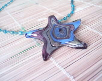 Colorful Fused Glass Starfish On Hand-beaded Necklace--Beautiful and Fun Summer Wear