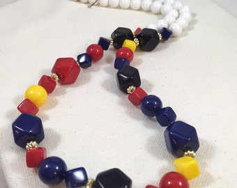Long nautical necklace, 1980s vintage necklace,  blue, red, and yellow necklace, primary colors plastic necklace, sailing necklace