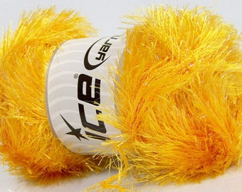 Large 100 gram skein Yellow Gold Eyelash Glitz #46553 Ice Sparkly Eyelash Yarn 153 yds