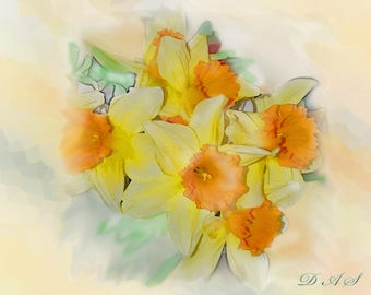 A Touch of Spring Daffodil Note cards to be Personalized