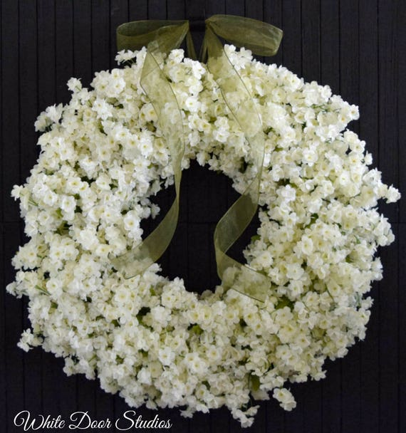 Creamy White Ruffle Flower Spring and Summer Front Door Wreath