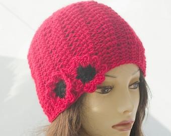 Red Poppy Cloche Hat, Red Beanie, Flower Hat, Winter Hat, Women's Hat,  Hand Crocheted Hat, Fashion Flower Cap, Warm Hat