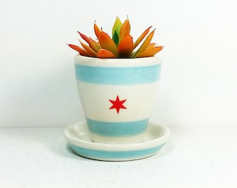 NEW. 1 Small Batch Planter for your cute little plant, in the Chicago Flag motif - Ready to Ship