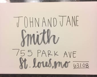 Hand made custom wedding invitation envelopes