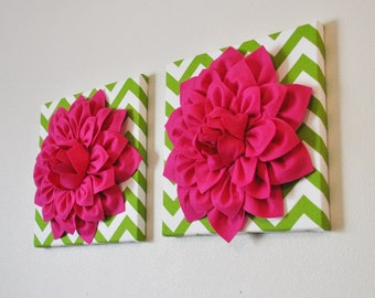 """TWO Flower Wall Hangings- Hot Pink Dahlia on Chartreuse and White Chevron 12 x12"""" Canvas Wall Art- Baby Nursery Wall Decor-"""