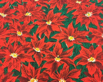 Vintage Christmas Fabric! FQ. Poinsettia Fabric. Christmas Fabric Red. Floral Christmas Fabric. Christmas Floral Fabric