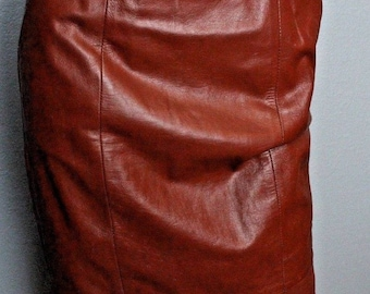 Vintage 70's Lillie Rubin 100% Leather Oxblood High Waisted Bandage Skirt S 4