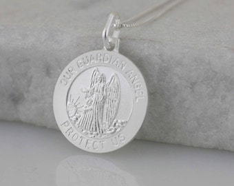 Guardian Angel Medal, Sterling Silver Our Guardian Angel Necklace, Catholic Holy Medal, Silver Angel Necklace, Holy Guardian Angel Medal