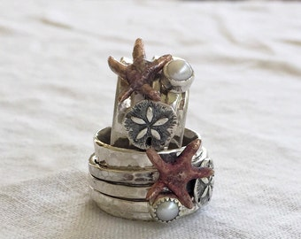 Sterling Silver Beach Spinner Ring Ocean Sand Dollar Starfish Turquoise or Pearl Beach Wedding Band by ShesSoWitte