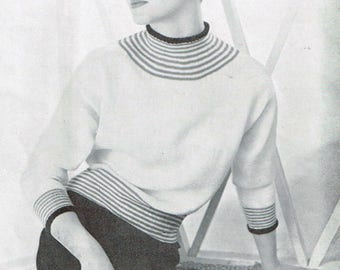 "Vintage Women's Knitting Pattern - ""Norelle"" sweater or pullover - 50s - instant download PDF - 1950s bat wing sweater pattern"