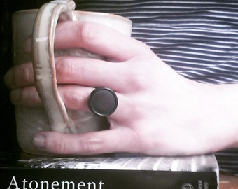 Black Cocktail Ring, Vintage Button Statement Ring, Eco Friendly Adjustabe Ring Made From an Antique Button