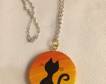 Necklaces with cats hand painted wood silver plated chain