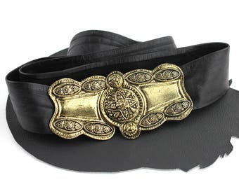 Black & Brass Ornate Baroque Style Vintage Belt - adjustable up to 38 inches
