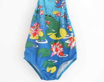 Vintage Mothercare polyester swimsuit in frog and lily pad design, approx age 12 months, 1970s