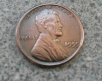 1955 Double Die Lincoln One Cent Penny Coin Restrike