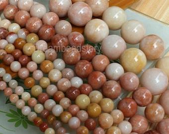 Natural Chinese Golden Jade Beads, Round 6 8 10 12 14 16 18 20mm Stone Beads Supplies (WM16)