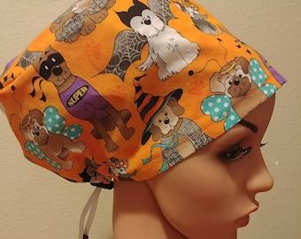 Women's Surgical Cap, Scrub Hat, Chemo Cap, Puppy Trick or Treat
