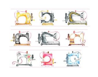 Diary Scrapbook Adhesive Masking Deco Washi Tape - Retro Sewing Machine (3 cm Width)