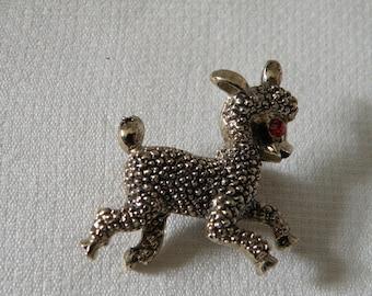 Cute Vintage Silver Tone Leaping Lamb Pin
