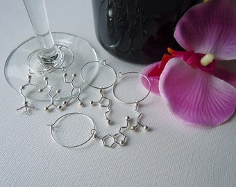 Biolojewelry - Set of 6 Neurotransmittter Wine Glass Charms