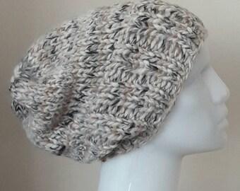 Chunky knit oatmeal slouchy beanie , chunky knit beanie , slouchy knit beanie, oatmeal knit hat , winter hat , slouchy extra chunky beanie