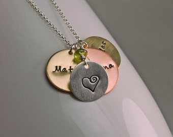 Custom Personalized Multi-Disc Mixed Metal Handstamped Necklace - Cluster Pendants with Birthstone on Sterling Silver Chain