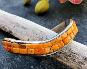 Spiny Oyster & Sterling Signed Cuff | Native American Jewelry | Orange Spiny Oyster Jewelry | Mens Southwestern Cuffs