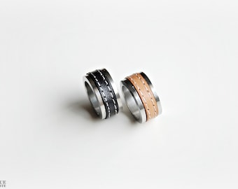 Leather Ring - Silver