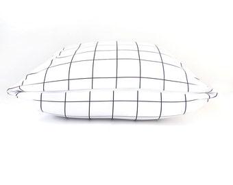 Pillow, Children Pillows, Accessories, Room Decor, Boys, Bedroom, Black, White, 18x18 Pillow, Modern, Scandinavian. Grid Pillow
