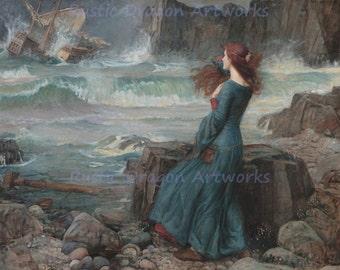 "John William Waterhouse ""Miranda the Tempest"" Banished William Shakespeare 1916 Reproduction Digital Print"